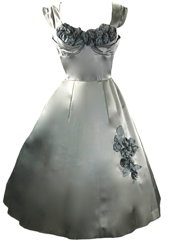 Vintage 1950s Silver Satin Applique Party Dress - New! (ON HOLD)