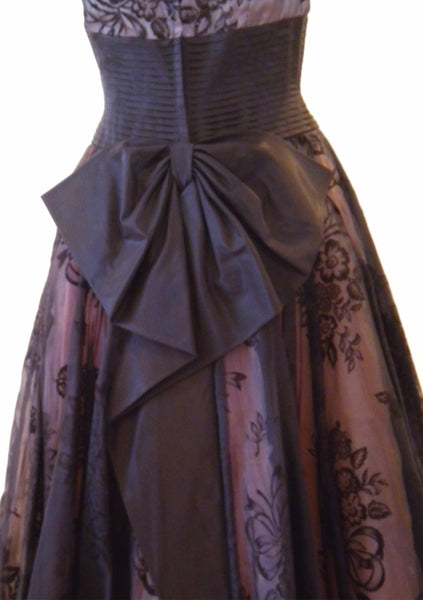 1950s Black Flocked Organza Party Dress