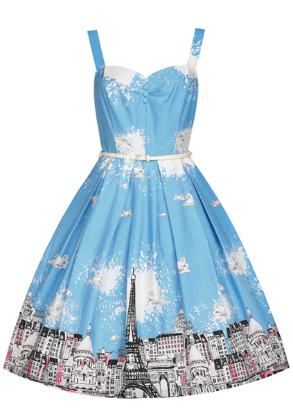 Recreation of 1950s Blue Cityscape Border Dress - New!