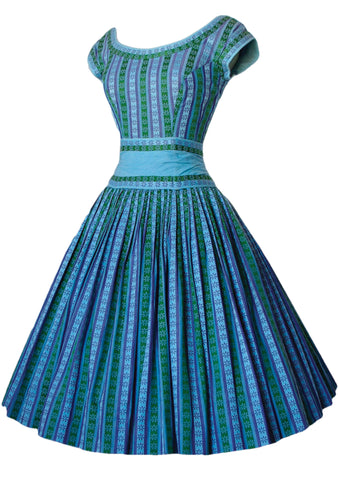 Vintage 1950s Turquoise Blue Striped Woven Cotton Day Dress