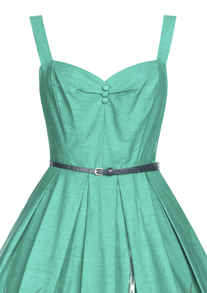 Recreation of 1950s Blue Green Tulip Border Day Dress - New!