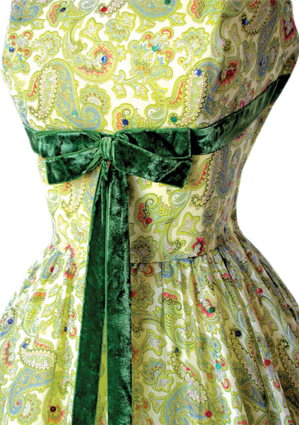 Vintage 1950s Green Paisley Voile Dress - New!