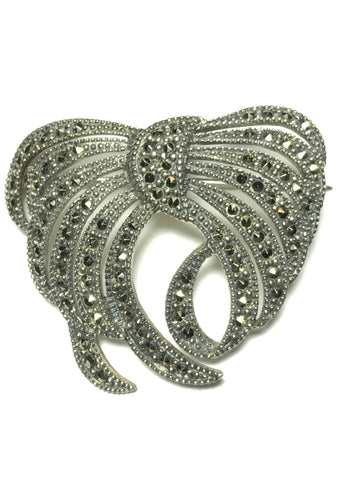 Gorgeous 1960s Marcasite Silver Bow Brooch - New!