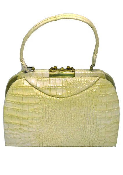Vintage 1950s Rare Cream Alligator Handbag - New!
