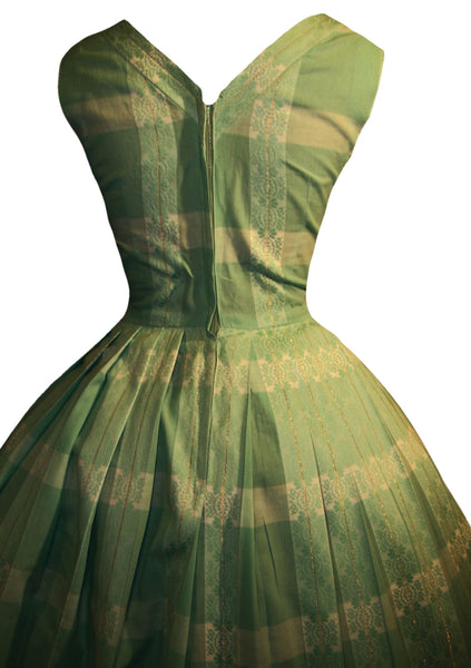 Vintage 1950s Seafoam Green Cotton Day Dress - Sold!