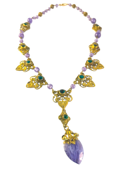 1920s Purple & Green Glass Neiger Bros Necklace - New! (ON HOLD)
