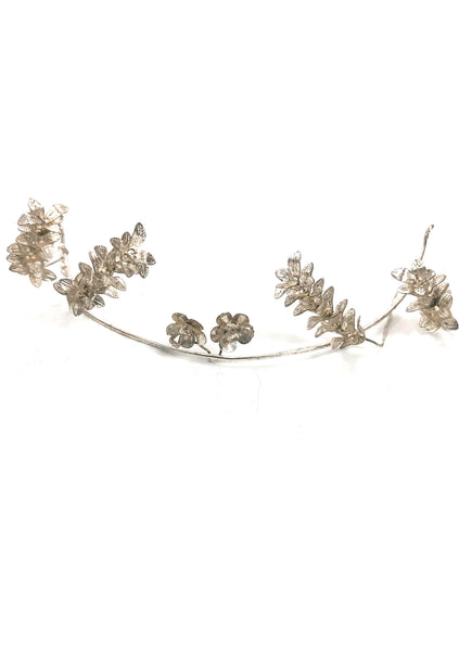 Vintage 1920s Silvered Headpiece With Corsage