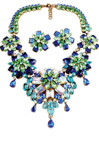 Blue Green Glass AB Necklace & Earrings Set - New