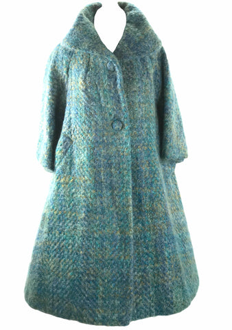 1950s Couture Lilli Ann Blue Green Mohair Swing Coat- New!