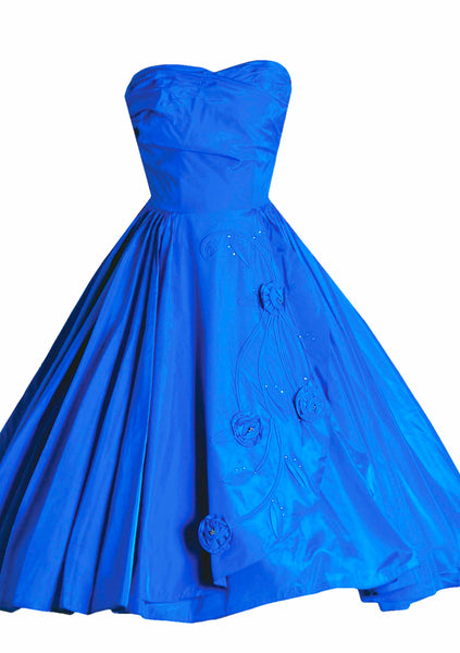 Vintage 1950s Sapphire Blue Taffeta Party Dress - New