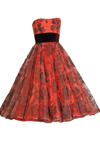 Vintage 1950s Brick Red Flocked Designer Party Dress