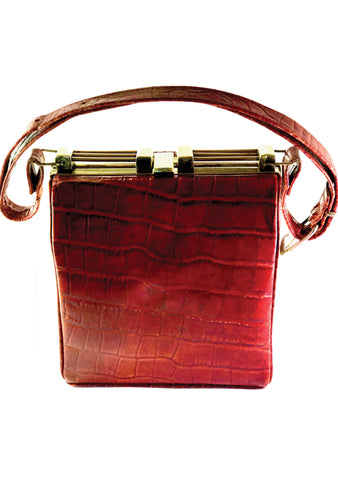 Vintage 1940s Burgundy Embossed Alligator Handbag  - New!