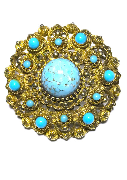 Exquisite Vintage 1940s Turquoise Blue Round Brooch- New!