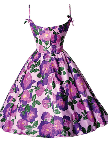 Vintage 1950s Lilac and Purple Roses Polished Cotton Dress - New!
