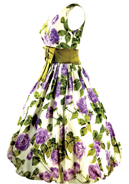 Vintage 1950s Purple Roses Silk Taffeta  Party Dress - New!
