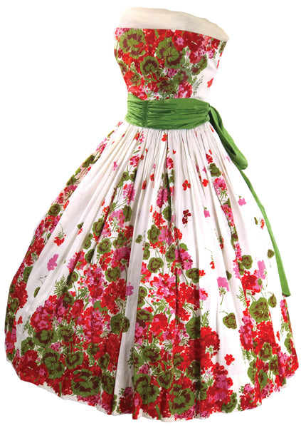 Vintage 1950s Floral Border Garden Party Dress - New!