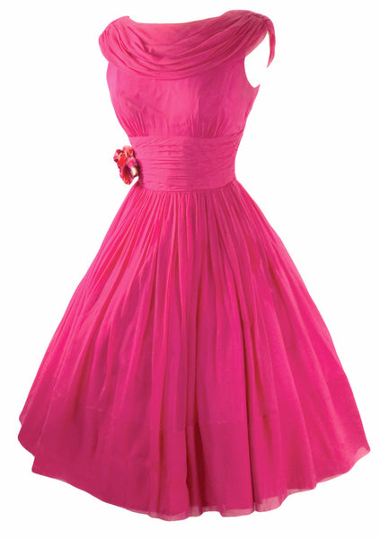 Vintage 1950s Fuchsia Pink Chiffon Party Dress - New!
