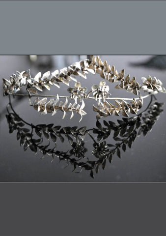 Vintage 1910s German Silver Headpiece With Corsage