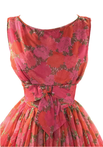 Vintage 1950s Watermelon Red Roses Chiffon Party Dress - New!