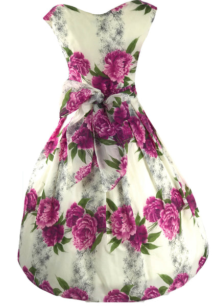 Stunning 1950s Purple Cabbage Roses Dress - New!