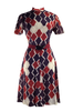 Vintage 1960 Red, White & Blue Geometric Mod Dress- New!