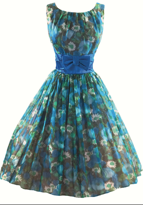 Vintage 1950s Blue Floral Chiffon Party Dress - New!