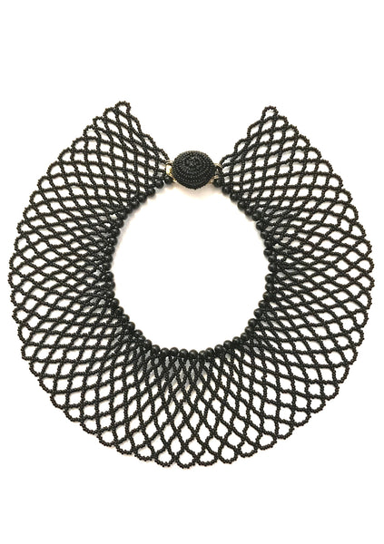 Vintage 1960s Black Glass Beaded Collar Necklace - New!