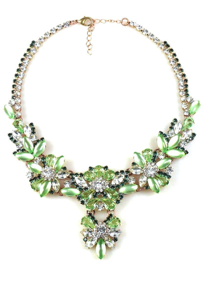 Exquisite Peridot Green and Clear Crystal Czech Necklace - New!