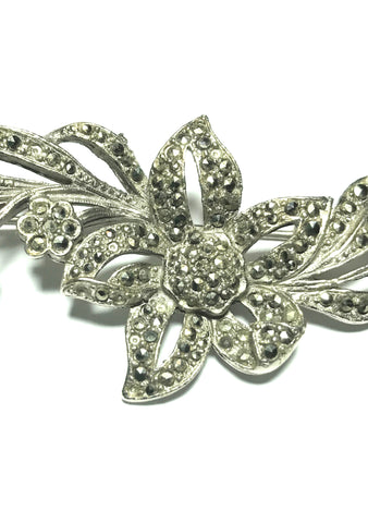 Vintage 1950s Marcasite Flower Bouquet Brooch - New!