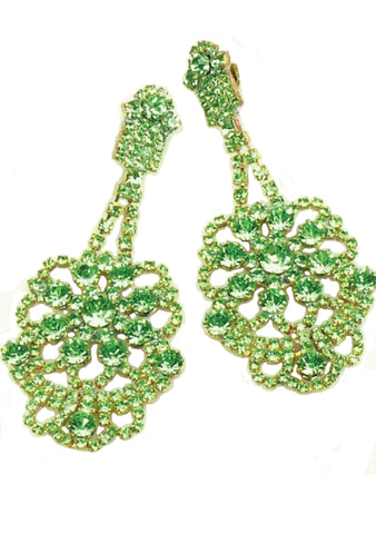 Peridot Green Lace Crystal Czech Earrings