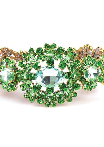 Beautiful Peridot Green Crystal Czech Headband - New!