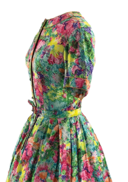 1960s Green Multi Coloured Floral Polished Cotton Day Dress - New!