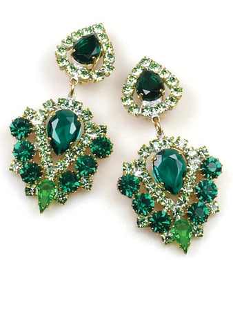 Striking Emerald and Peridot Green Czech Earrings