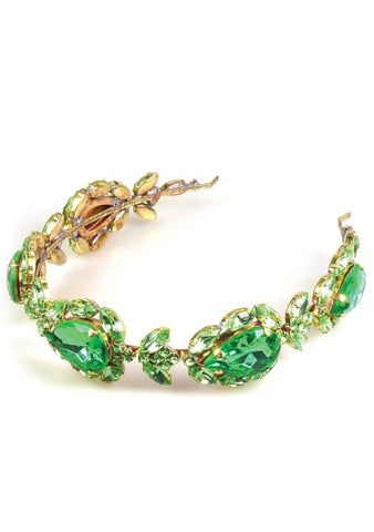 Beautiful Peridot Green Glass Crystal Headband