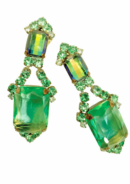 Peridot Green & Clear Glass Czech Earrings - New!