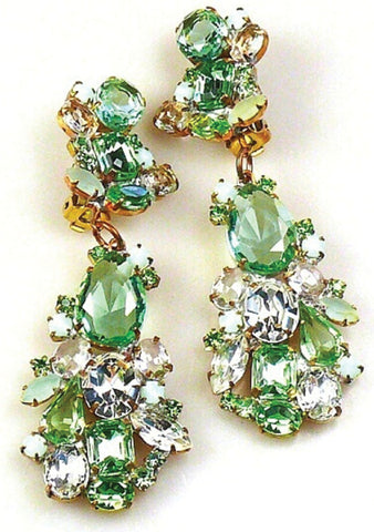 Lovely Peridot Green and Clear Crystal Earrings- New!