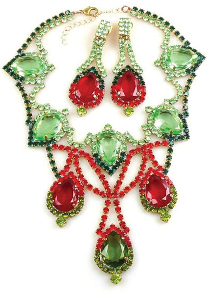 Striking Czech Peridot and Ruby Necklace & Earrings - New!
