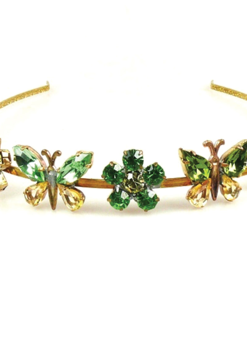 Attractive Emerald and Peridot Green Crystal Headband