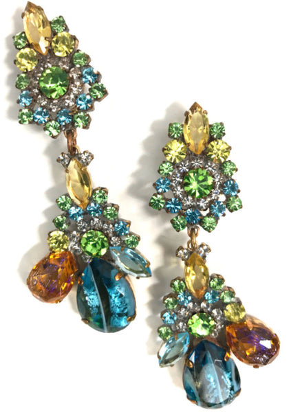 Unique Blue Green Czech Earrings - New!