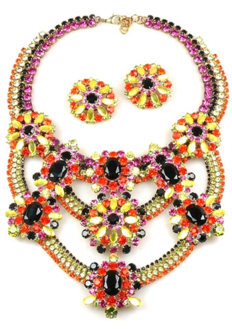 Magnificent Czech Mosaic Collar Necklace & Earrings Set