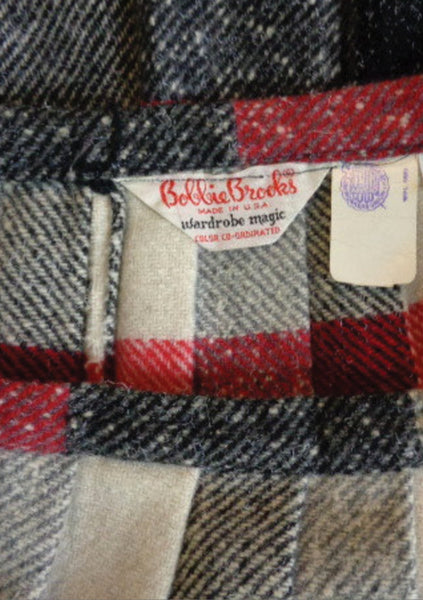 Vintage 1960s Red Charcoal & Cream Check Wool Skirt - New!