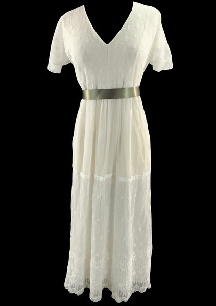 Vintage 1910 Ivory Net Lace and Tulle Day Dress