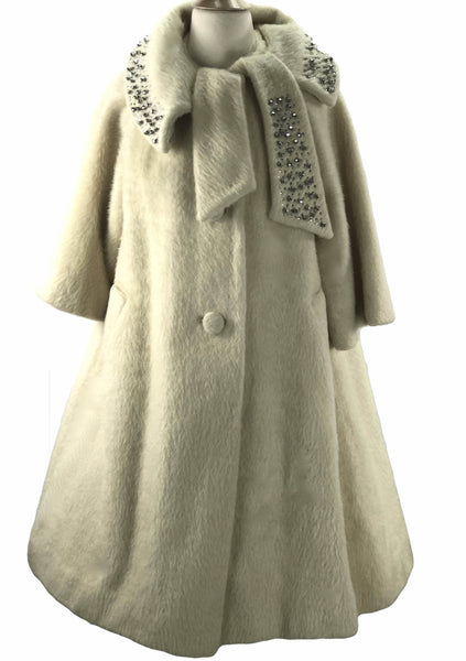 1950s Couture Lilli Ann Cream Mohair Swing Coat- New! (Layby)