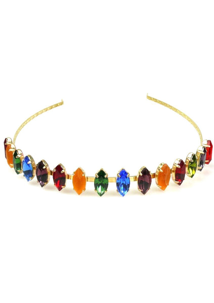 Beautiful Multi Coloured Navette Shaped Crystal Headband