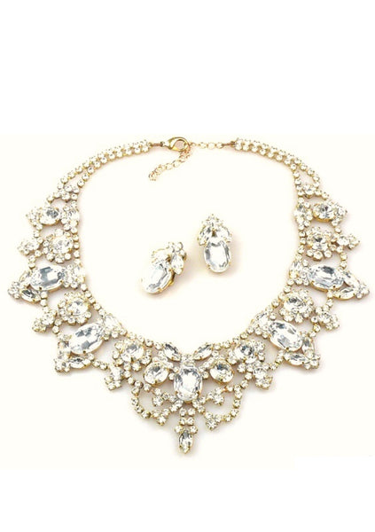 Sophisticated Clear Crystal Necklace & Earrings Set - New!