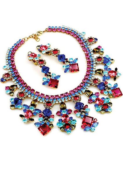 Classic Ruby, Sapphire and Aquamarine Necklace & Earrings - New!