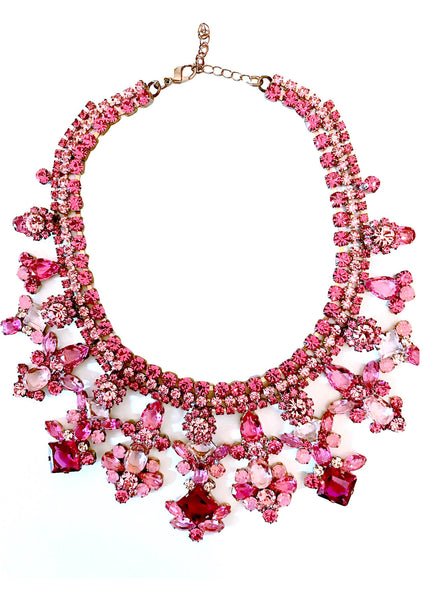 Amazing Large Pink Tourmaline Glass Crystal Necklace