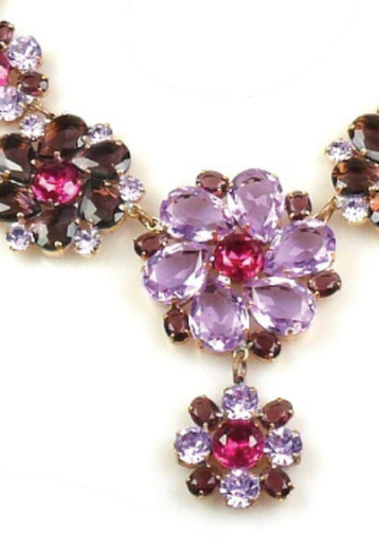 Gorgeous Amethyst Purple Flower Necklace