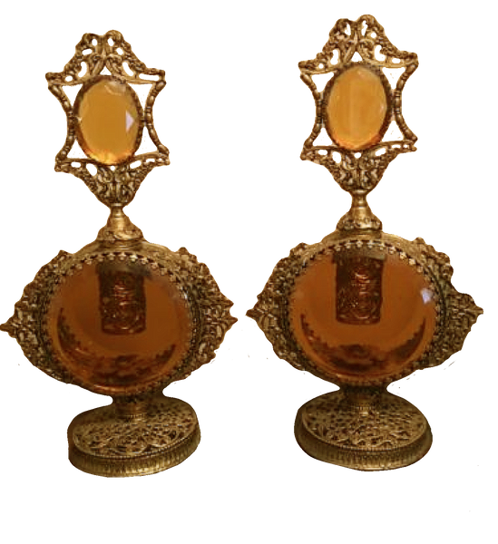 Vintage 1950s Ormolu Perfume Bottles - ON HOLD FOR HEATHER