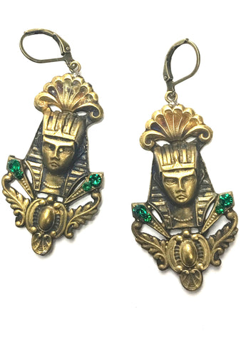 Vintage 1920s Czech Gilt Metal Pharaoh Earrings